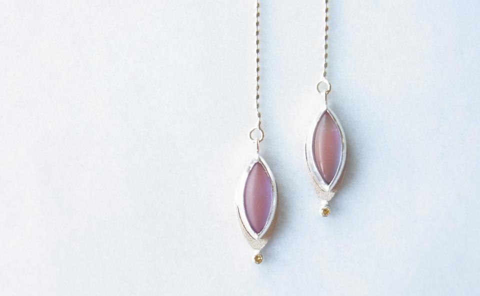 サフィレットガラスのピアス K10 / SV / サフィレットガラス / イエローダイヤモンド  sold