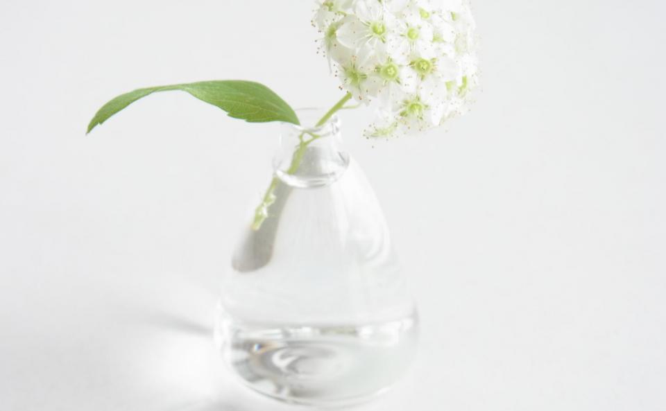ミニチュアのフラスコみたいな小さな花器。お庭のお花やお散歩で摘んできた野の花などを挿して。暮らしに小さな彩りを添えます。