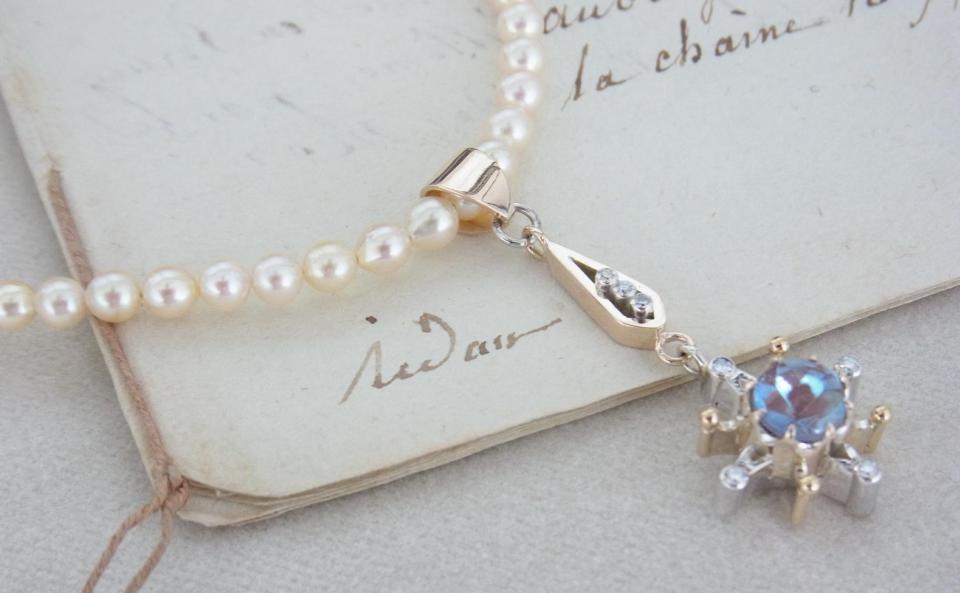ペンダント K10 / silver /サフィレットガラス / ダイヤモンド / アコヤパール sold